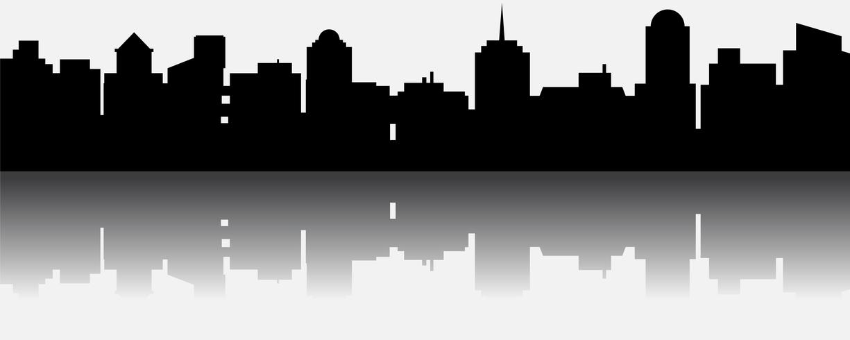 Silueta de ciudad vector negro con reflexión