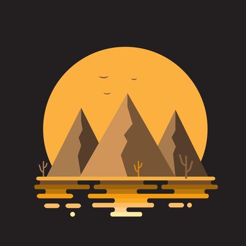 Vector l'illustrazione piana del paesaggio del deserto della natura dell'estate con le montagne