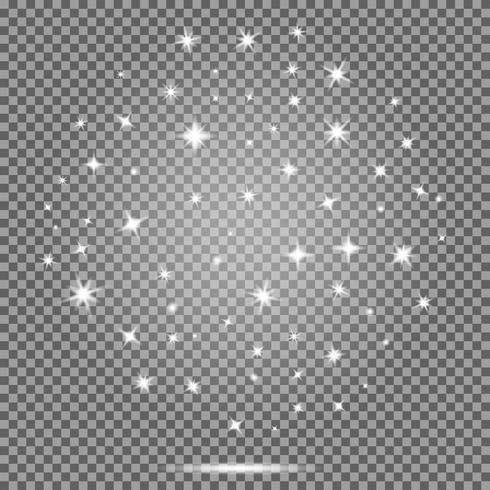 Ensemble de vecteur d'étoiles, effet de fusées éclairantes blanc sur fond transparent