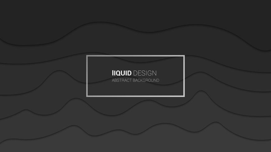 Disegno astratto multi strati 3d di liqiud. Progettazione di concetto di colores grigio scuro dinamico o illustrazione fluente del liquido per il modello del sito Web. Papercut.
