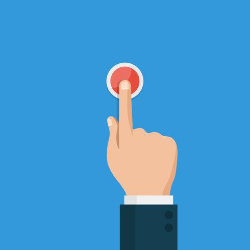 Hand press red button,top view vector