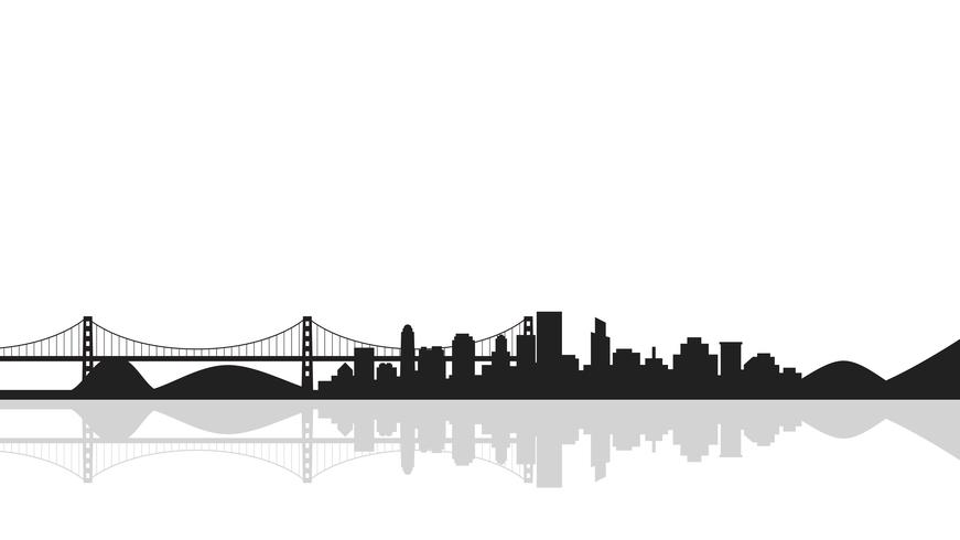 Cityscape bakgrund med bro, silhuett av staden