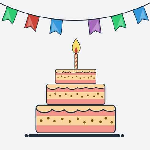 Birthday Cake And Bunting Flags Flat Design Download Free Vectors Clipart Graphics Vector Art