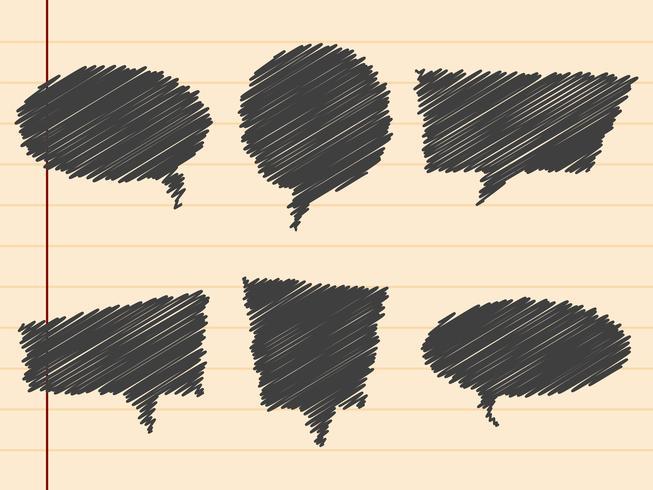Zwarte hand getrokken tekstballonnen, instellen