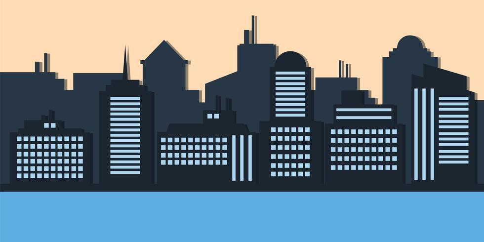 Blaues Schattenbild der Stadt kreative Art glättend