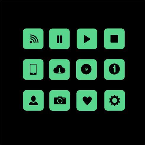 12 icone vettoriali web in stile piano