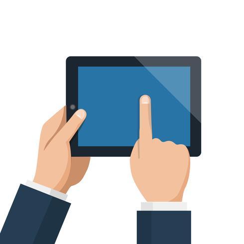 Zakenmangreepstablet en het richten van het lege blauwe scherm