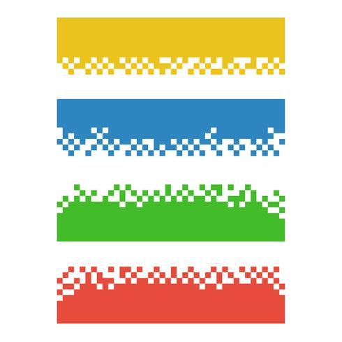 Set of color abstract pixel web banners for headers vector