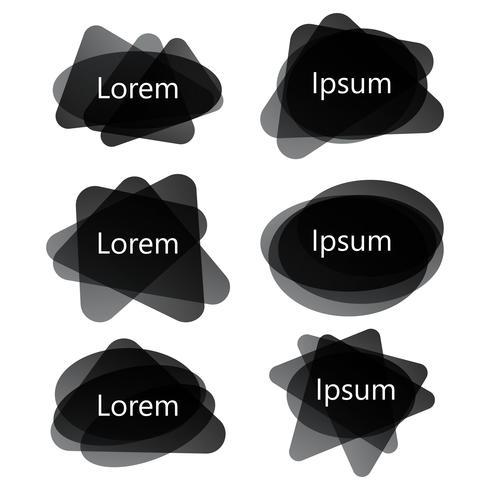 Banderas abstractas negras de diferentes formas, conjunto de vectores