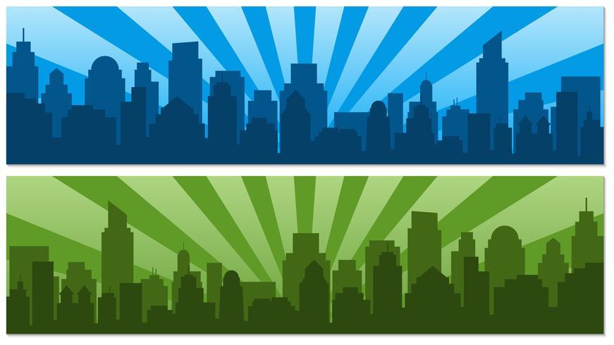 Dois cartazes com o nascer do sol e cidade de silhueta moderna em estilo pop art