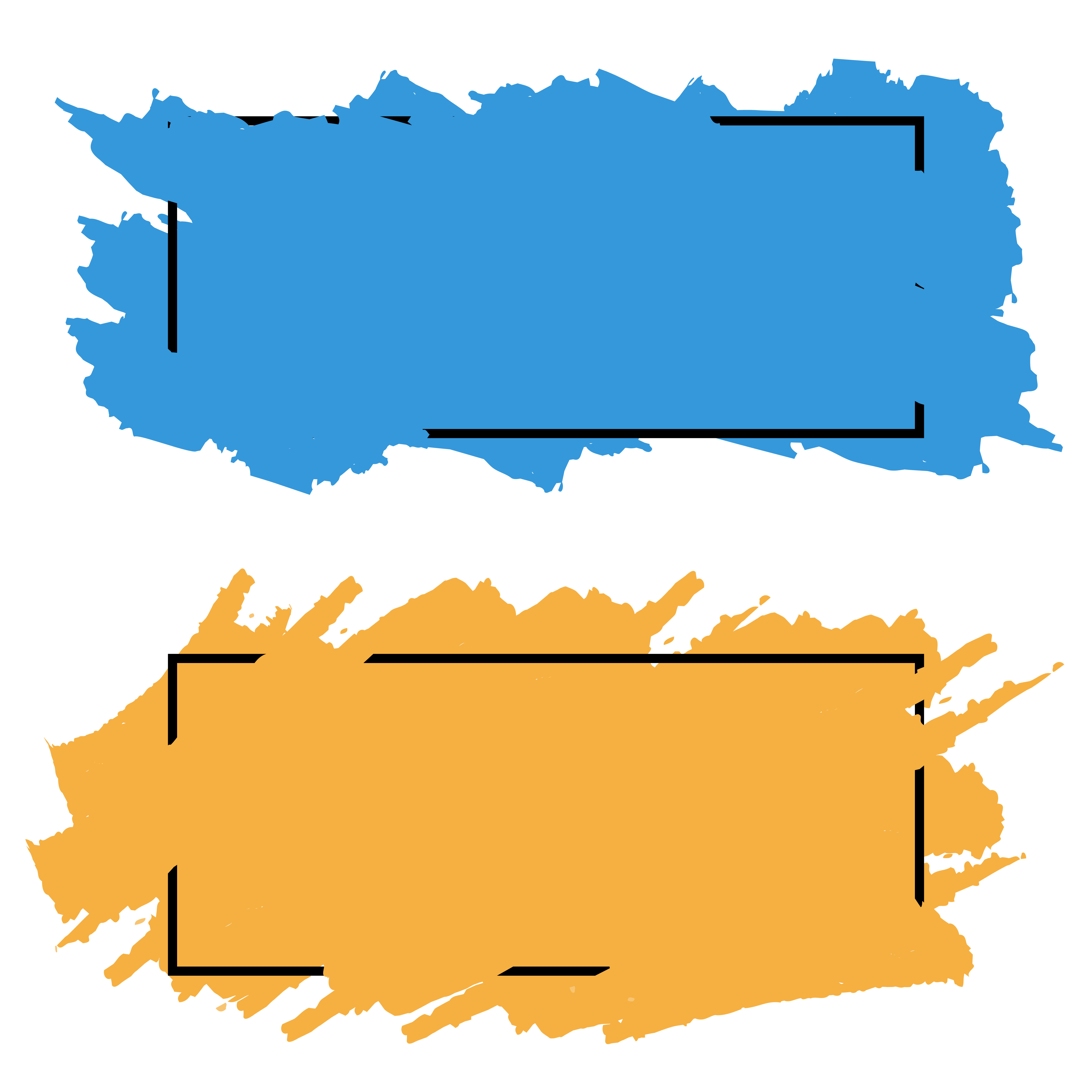 Two banners,borders of color brush strokes, vector set ...