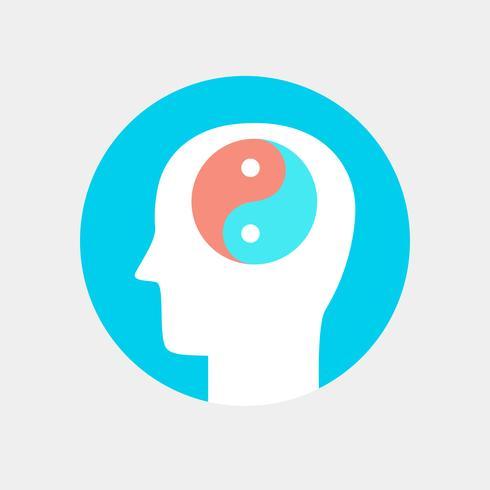 Icono de cabeza humana, concepto plano de armonía concepto vector