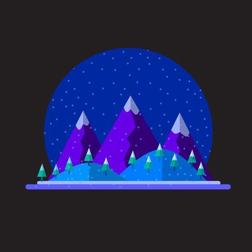 Vector vlakke illustratie van de sneeuwlandschap van de de winteraard met bergen