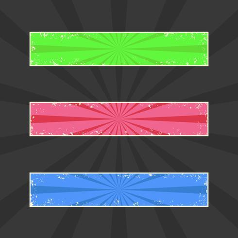 Grungy banners de colores, encabezados grunge con rayos retro, conjunto de vectores