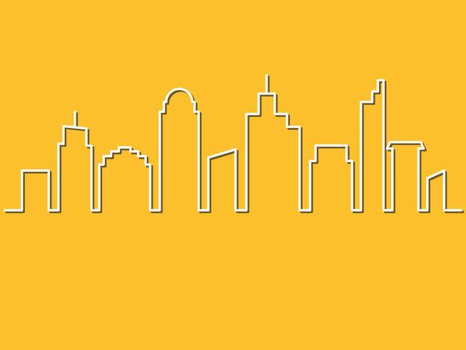 Estilo minimalista, horizonte da cidade. Ilustração vetorial Fundo de paisagem urbana, corte o estilo de arte de papel