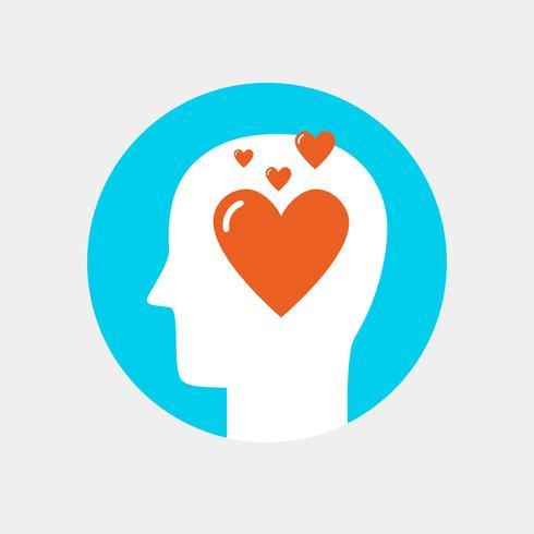 Cabeza humana con icono de corazón, concepto plano de amor concepto