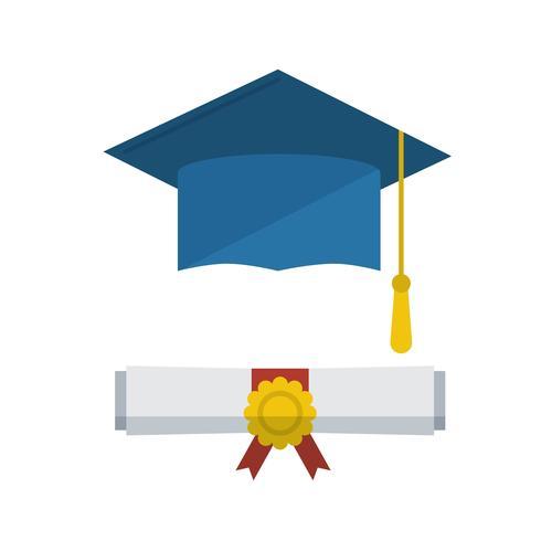 Gorra de graduación y diploma icono de desplazamiento enrollado vector