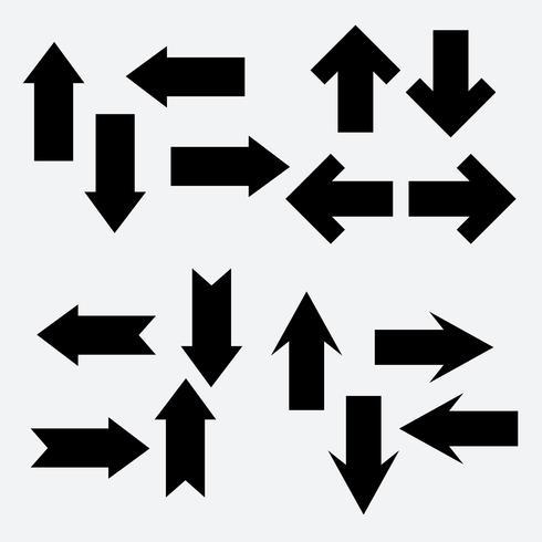 Insieme di vettore dell'icona di freccia nera diversa