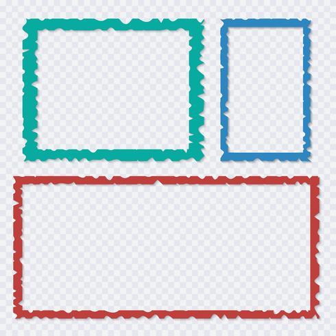 Set van kleur gescheurd papier frames met schaduwen