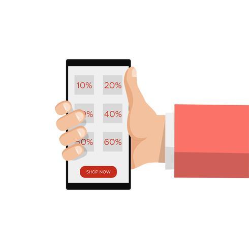 Compra em linha da venda, mão que guarda o smartphone, mensagem da etiqueta do disconto