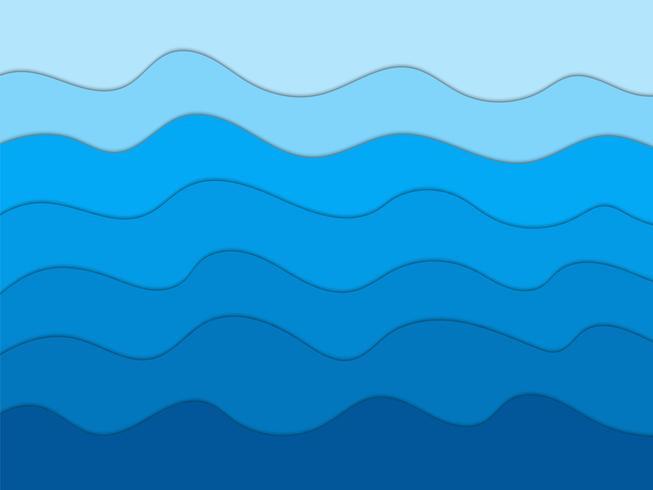 Abstrakt blå vågor bakgrund för design, papper stil konst