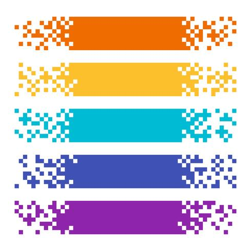 Sammlung abstrakte Farbpixel-Netzfahnen für Titel vektor