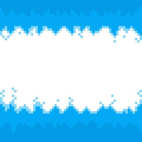 Bordes de píxeles abstractos azules, marco con espacio para su texto