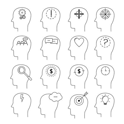 Set van hersenen activiteit pictogrammen, dunne lijnstijl, platte ontwerp vector