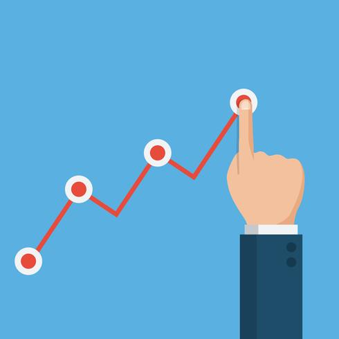 Hand touching up holding chart arrow, financial growth graph vector