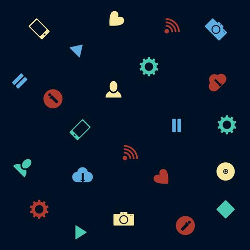 Background with vector web icons in flat style