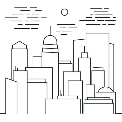 Snyggt modernt stadslandskap i linje konst stil vektor