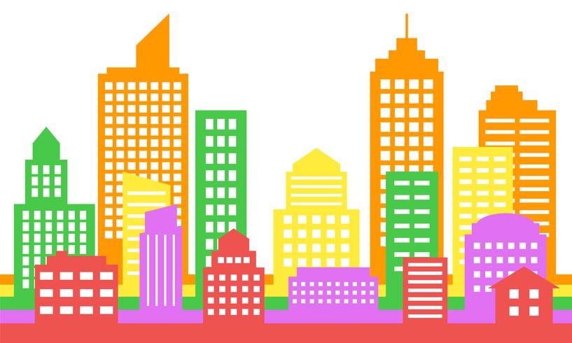 Fondo colorido brillante del paisaje urbano, arquitectura moderna