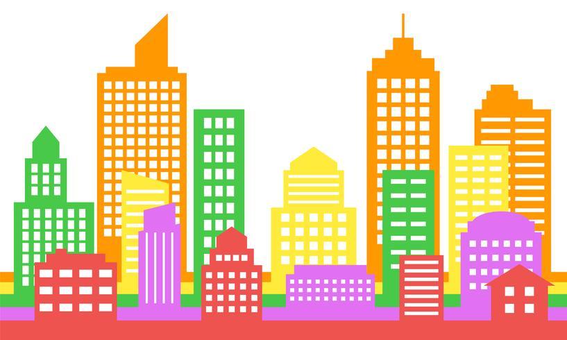 Priorità bassa variopinta luminosa di paesaggio urbano, architettura moderna