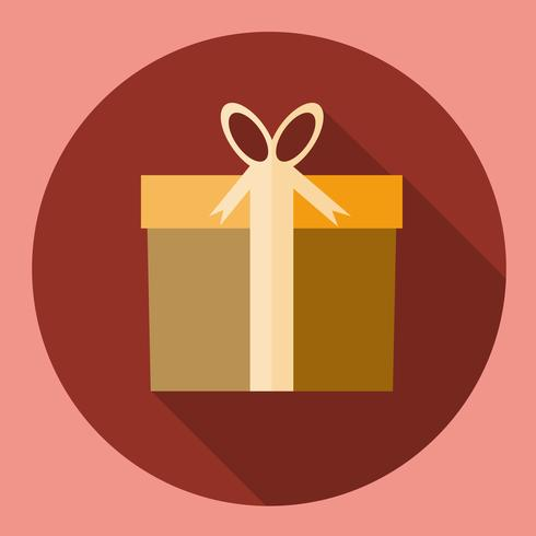 Gift Box Present icon  flat design with long shadow vector