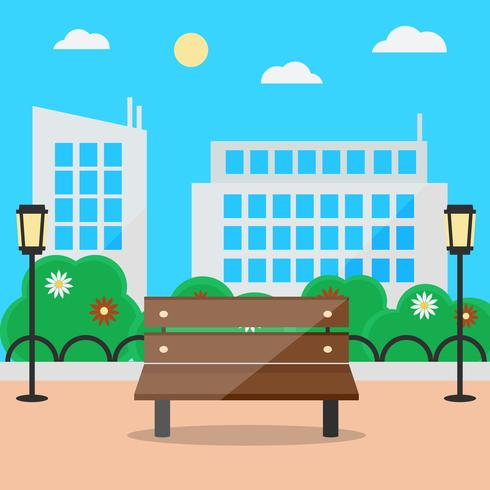 Flat style blooming summer cityscape with bench and street lights