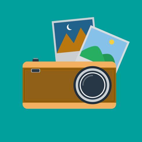 Cámara de fotos retro y marcos de fotos de diseño plano.