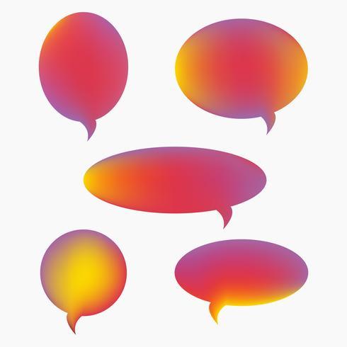 Vector discurso burbujas, conjunto de iconos, estilo plano degradado