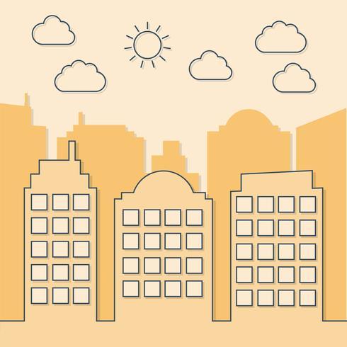 Estilo creativo de paisaje urbano soleado de verano vector