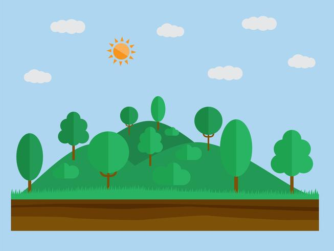 Natural landscape in the flat simple style with forest