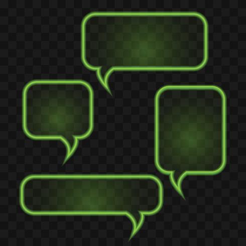 Bright green neon speech bubbles set vector