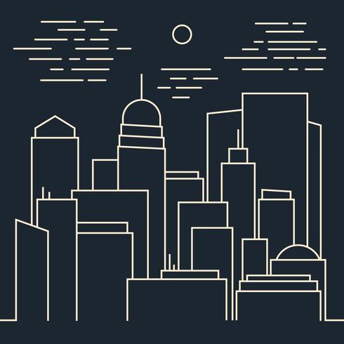 Ligne moderne de nuit élégante ville Line art