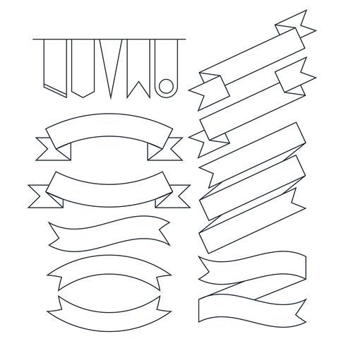Vektorsatz der flachen Linie Art der verschiedenen geformten Bandfahnen
