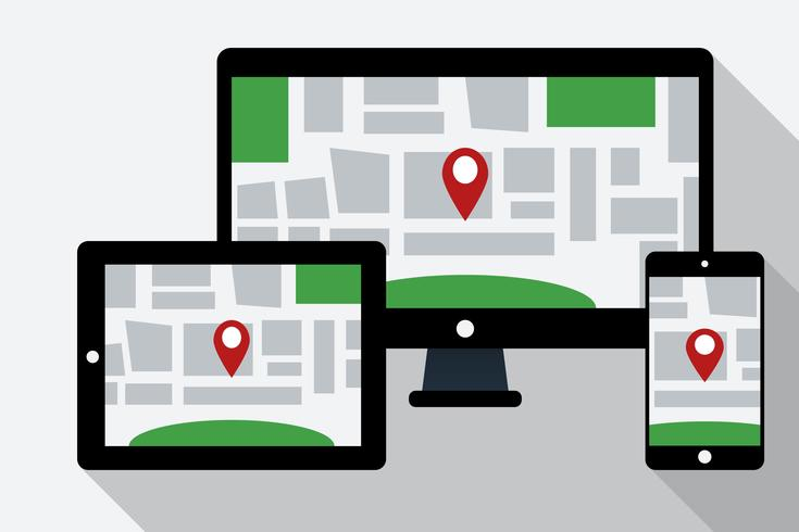 Computer, tablet PC and mobile phone with online navigation map on the screen