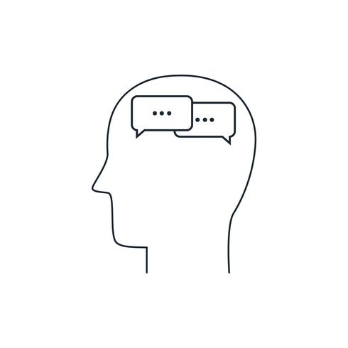 Icono de la mente humana, concepto de comunicación, diseño plano, estilo de línea delgada
