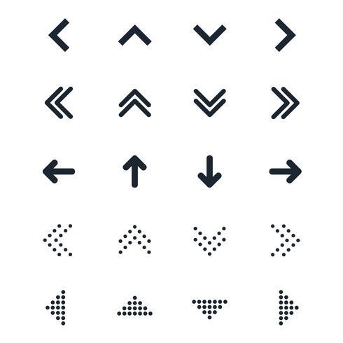Vektor uppsättning av olika svarta pilar ikonen