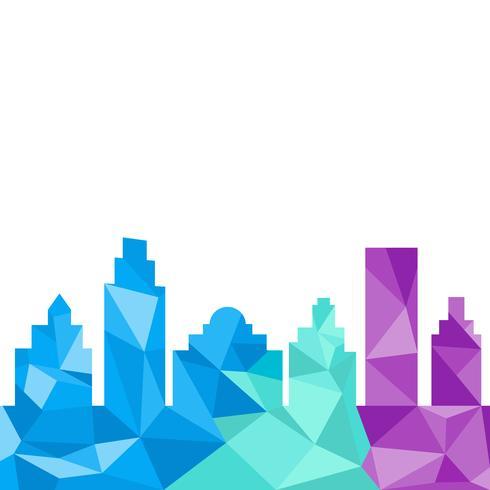 Stadsbyggnader silhuett polygonal stil