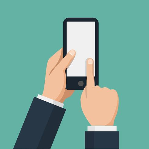 Hand håller smarttelefon och finger berör skärmen.
