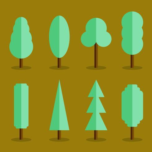 Conjunto de vector de estilo plano de los iconos de árbol simple