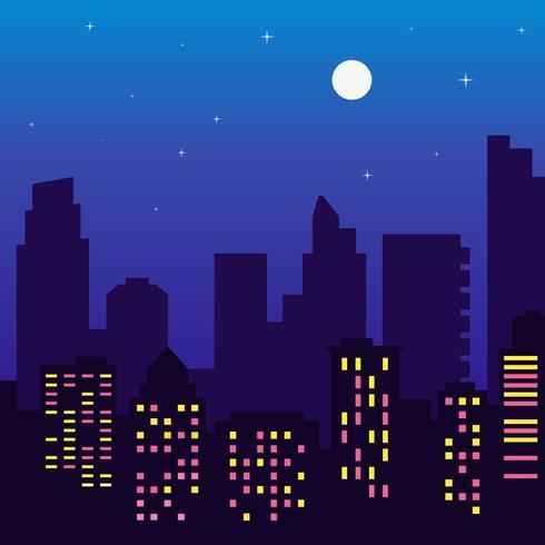 Silhouette di notte di edifici con finestre colorate, luna piena, stelle, in stile cartone animato