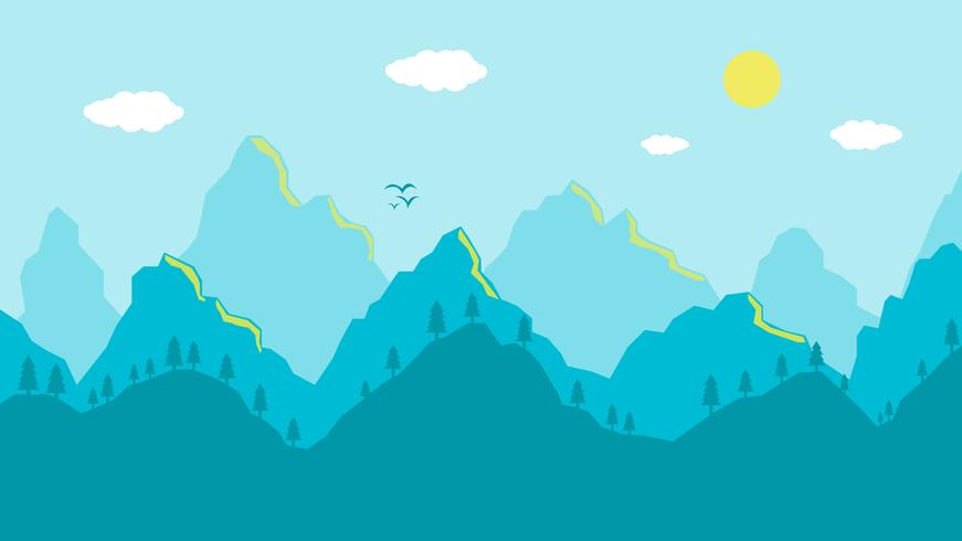 Cartoon mountains landscape morning, artistic blue panoramic view vector